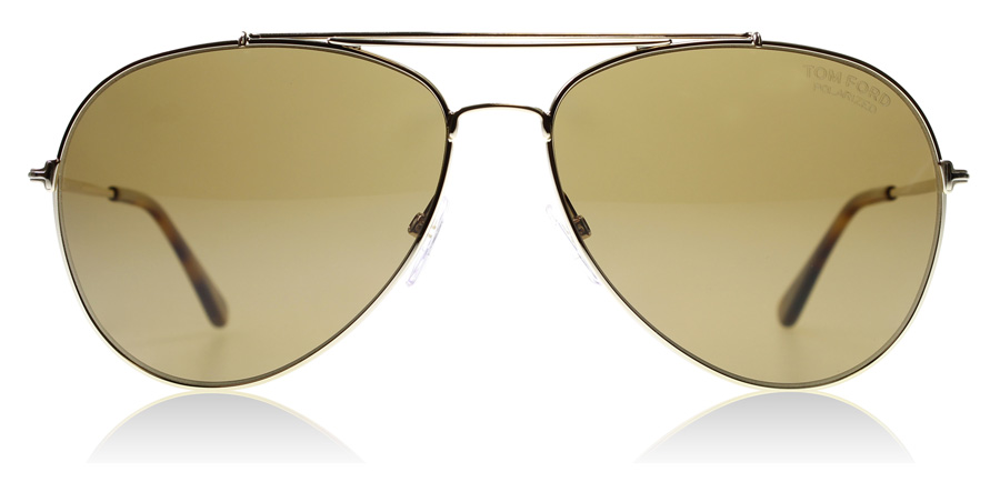 Tom Ford Indiana FT0497 Glanzend Roze Goud 28H 60mm Gepolariseerd